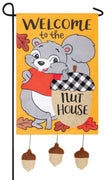 Nuthouse Squirrel with Dangling Acorns Double Applique Garden Flag