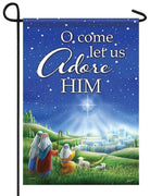 O Come Let Us Adore Him Garden Flag