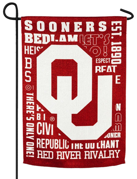 Oklahoma Sooners 2 Sided Suede Reflections Garden Flag