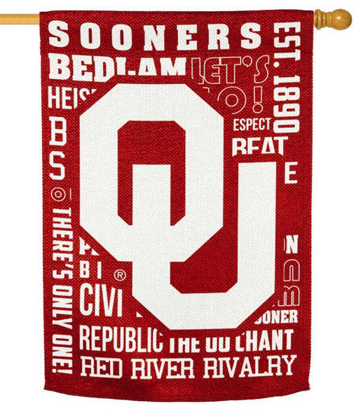 Oklahoma Sooners 2 Sided Suede Reflections House Flag