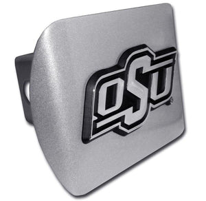 Oklahoma State University OSU Brushed Chrome Hitch Cover
