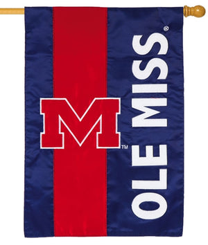 Ole Miss Embellished Applique House Flag