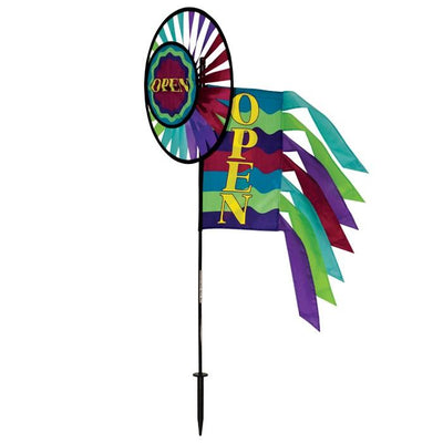 Open Sign Rainbow Wheel Wind Spinner