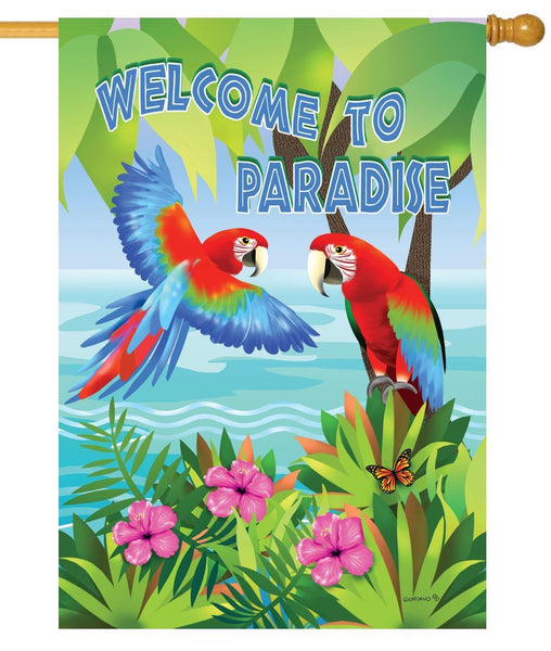 Paradise Parrots House Flag - I AmEricas Flags