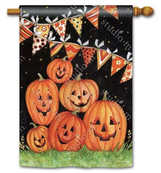 Party Time Pumpkins House Flag