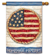 Patriotic Cherry and Blueberry Pie House Flag