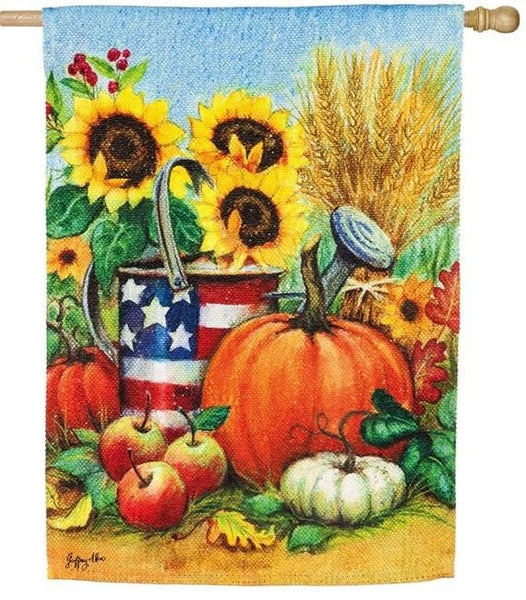 Patriotic Fall Watering Can Suede Reflections House Flag