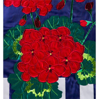 Patriotic Geraniums Applique Garden Flag Detail