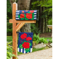 Patriotic Geraniums Applique Garden Flag Live