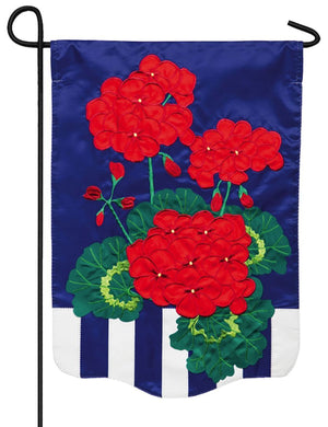 Patriotic Geraniums Applique Garden Flag