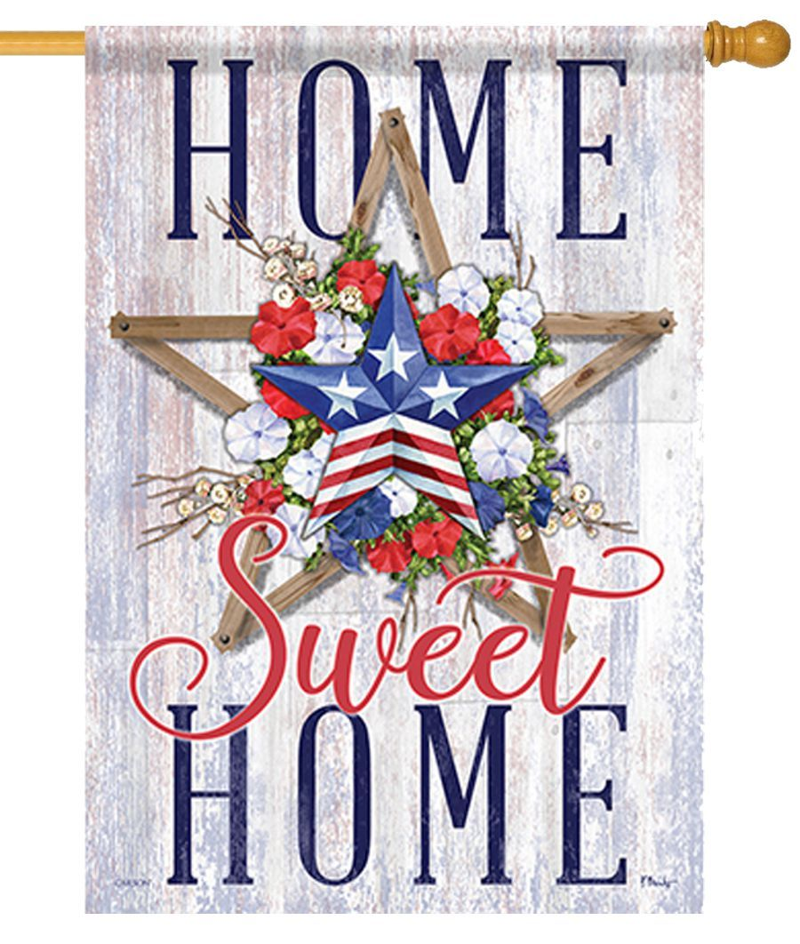 Patriotic Home Sweet Home Floral House Flag