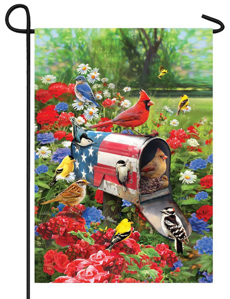 Patriotic Mailbox and Songbirds Garden Flag