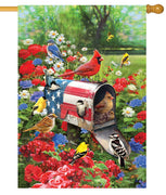 Patriotic Mailbox and Songbirds House Flag