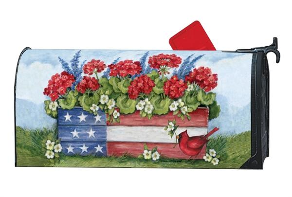 Patriotic Planter Box OVERSIZED Mailbox Cover
