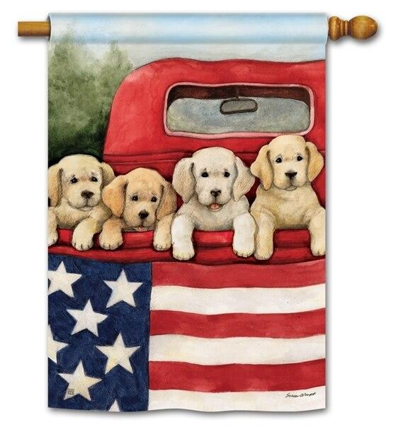 Patriotic Puppies Red Truck House Flag