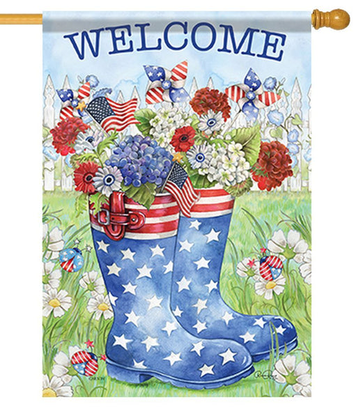 Patriotic Rain Boots House Flag