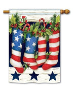 Patriotic Stockings House Flag