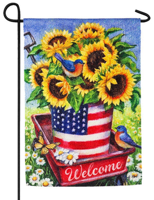 Patriotic Sunflower Wagon Suede Reflections Garden Flag