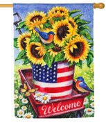 Patriotic Sunflower Wagon Suede Reflections House Flag