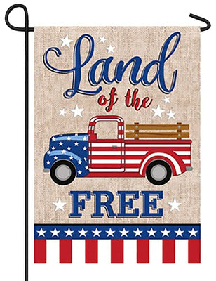 Patriotic Truck Suede Reflections Garden Flag