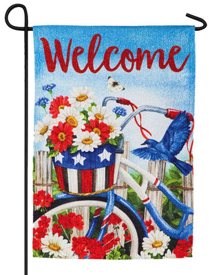 Patriotic Welcome Bicycle Suede Reflections Garden Flag