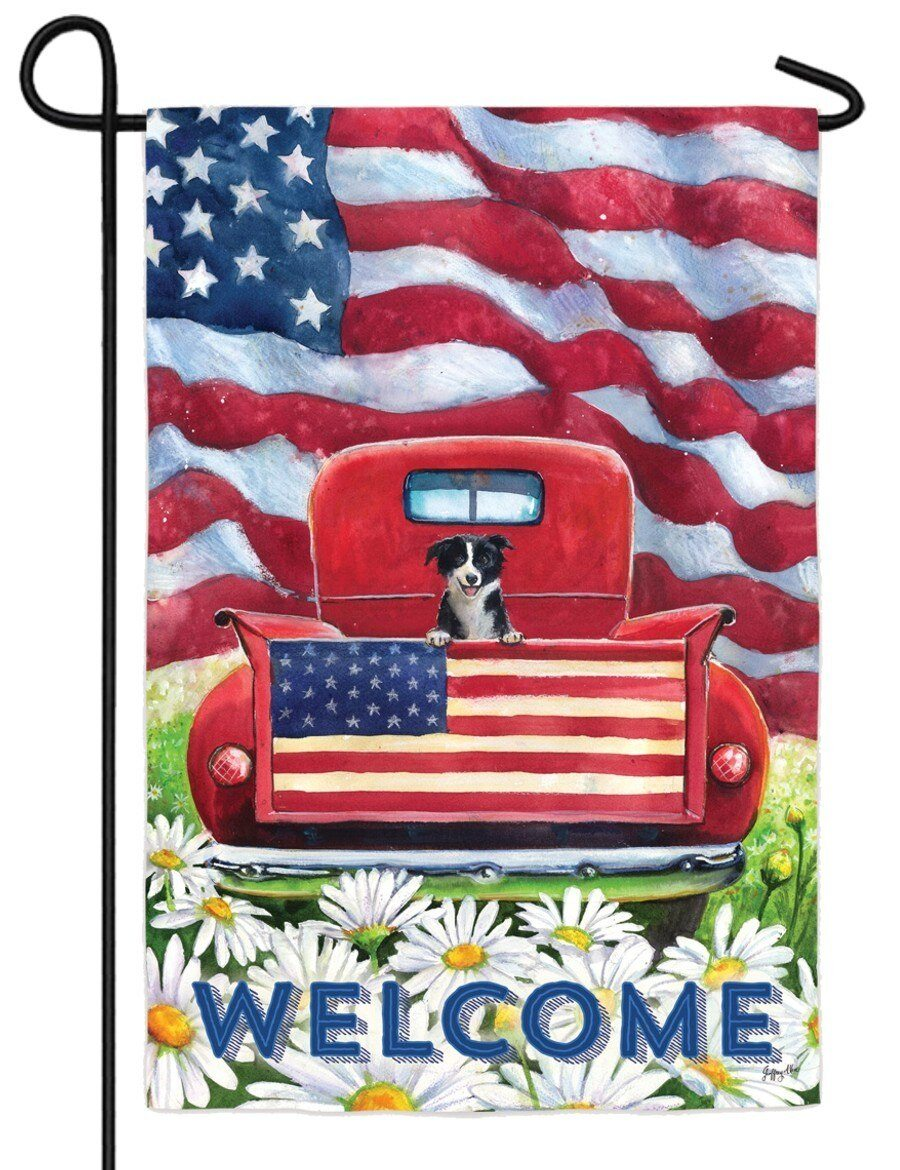 Patriotic Pickup Puppy Suede Reflections Garden Flag