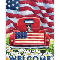 Patriotic Pickup Puppy Suede Reflections House Flag - All Decorative Flags/Themes/Patriotic Flags - I AmEricas Flags