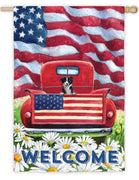 Patriotic Pickup Puppy Suede Reflections House Flag