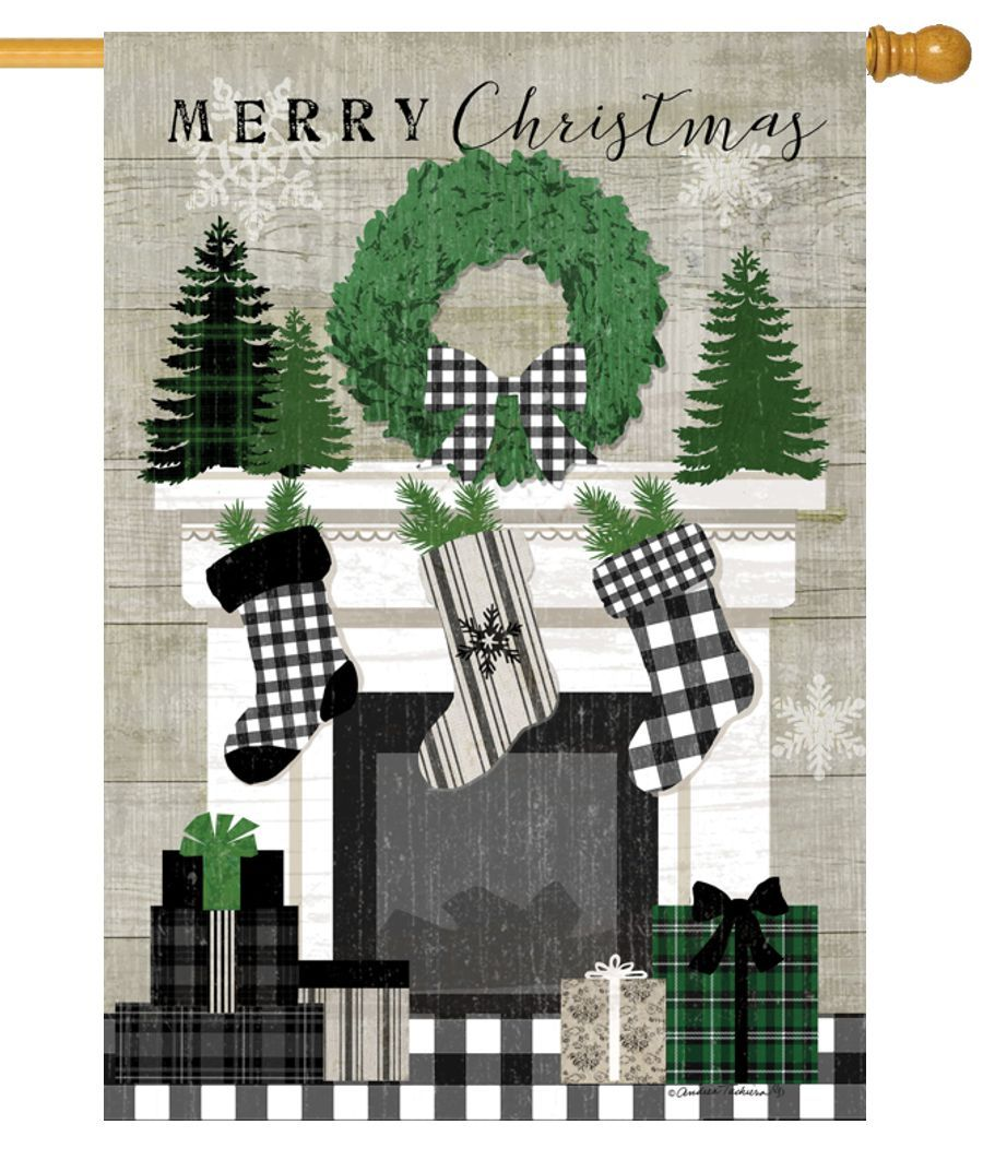 Patterned Christmas Mantel House Flag
