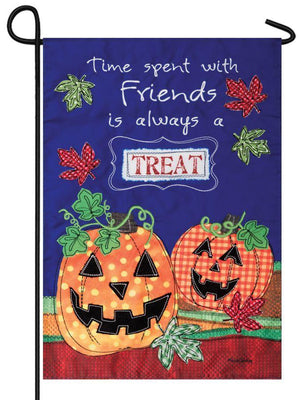 Patterned Jack-O'-Lanterns Double Applique Garden Flag