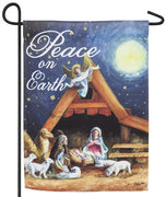 Peace on Earth Manger Suede Reflections Garden Flag