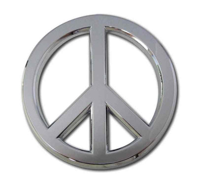 Peace Sign Chrome Car Emblem