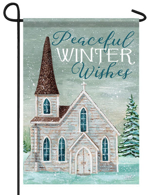 Peaceful Winter Church Garden Flag