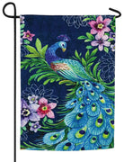 Peacock Floral Suede Reflections Garden Flag