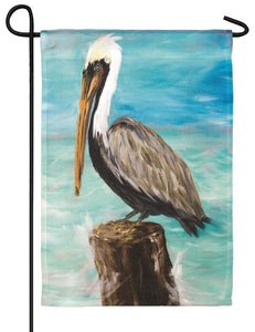 Pelican on a Post Garden Flag