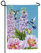 Peonies and Hummingbirds Suede Reflections Garden Flag