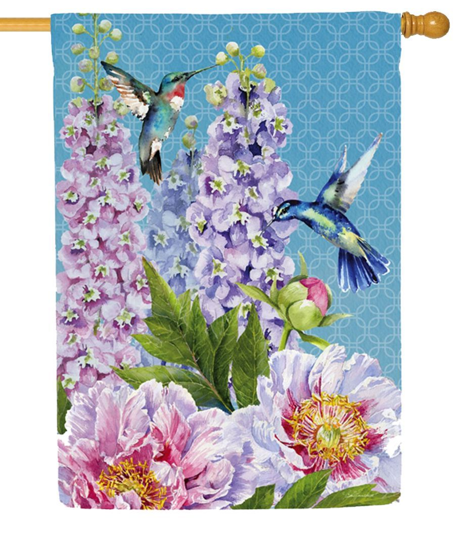 Peonies and Hummingbirds Suede Reflections House Flag