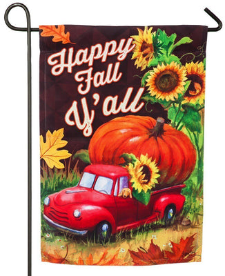 Pickup Truck Pumpkin Suede Reflections Garden Flag