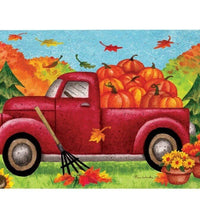 Pickup Truck and Fall Pumpkins Mailbox Cover
