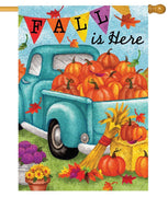 Pickup Truck with Fall Pumpkins House Flag