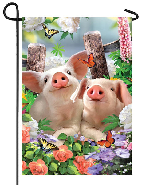 Piglets and Flowers Garden Flag