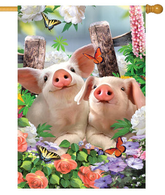 Piglets and Flowers House Flag