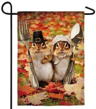 Pilgrim Chipmunks Couple Suede Reflections Garden Flag - All Decorative Flags/Holidays/Thanksgiving Flags - I AmEricas Flags