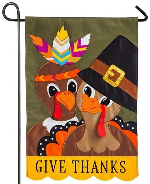 Pilgrim and Indian Turkeys Applique Garden Flag
