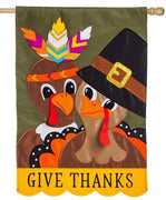 Pilgrim and Indian Turkeys Applique House Flag