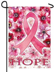 Pink Ribbon Hope Suede Reflections Garden Flag