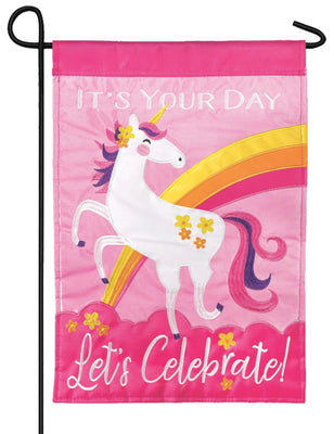 Pink Unicorn Double Applique Garden Flag