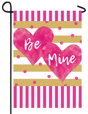 Pink and Gold Valentine Hearts Garden Flag