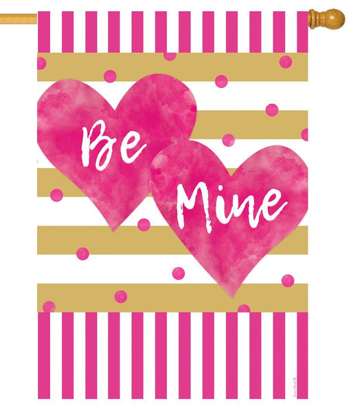 Pink and Gold Valentine Hearts House Flag