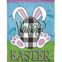 Plaid Bunny Egg Double Applique House Flag